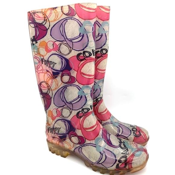 COACH Multicolor Poppy Tall Rain Boots